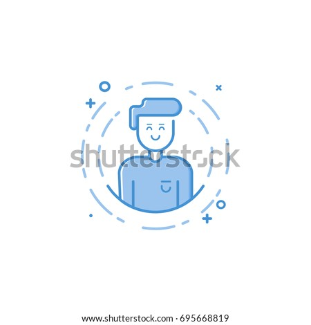 Vector illustration of filled bold outline icon smiling man in circle in flat line style. Linear cute and happy boy. Graphic design concept of boy avatar use in Web Project and Applications