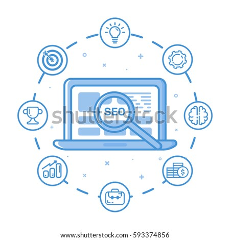 Vector illustration of filled bold outline laptop with magnifier. Graphic design concept of digital marketing, SEO optimization and analytics, news letter. Blue line icons isolated.