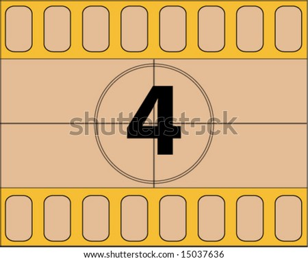 vector illustration of Film countdown, number 4