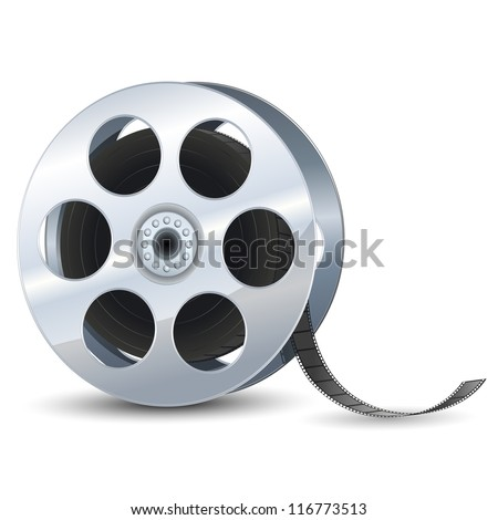 vector illustration of film reel against white