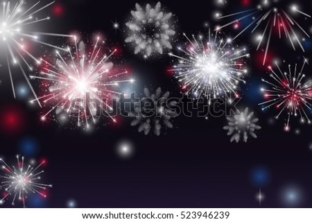 Vector Illustration of Fireworks. Colorful fireworks on the dark background.