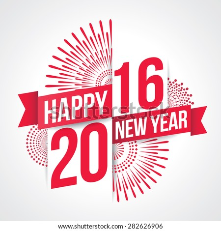 Vector illustration of fireworks. Happy new year 2016 theme