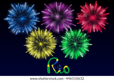 Vector Illustration of Fireworks. Realistic colored firecrackers on a black background. Lettering Rio. Sport concept banner. 2016 Brazil