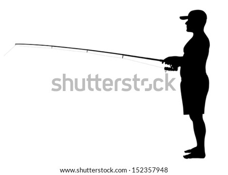 Vector illustration of fisherman silhouette
