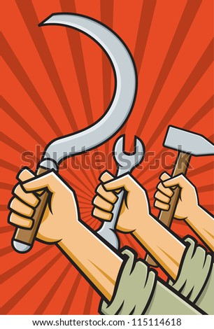 Vector Illustration of fists holding tools in the style of Russian Constructivist propaganda posters.
