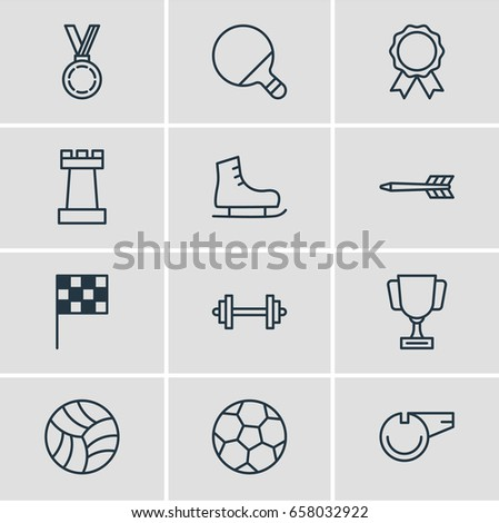 Vector Illustration Of 12 Fitness Icons. Editable Pack Of Blower, Pawn, Award And Other Elements.