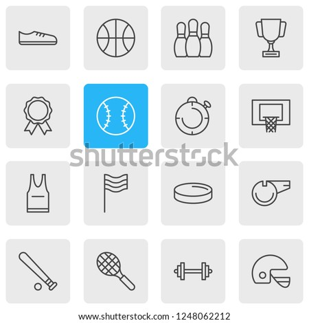 Vector illustration of 16 fitness icons line style. Editable set of uniform, batting, championship and other icon elements.