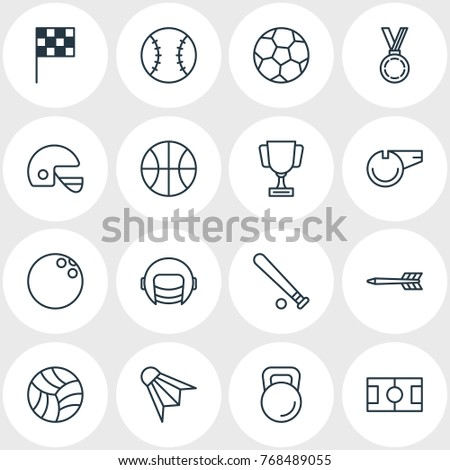 Vector Illustration Of 16 Fitness Outline Icons. Editable Set Of Blower, Hoop, Goblet And Other Elements.