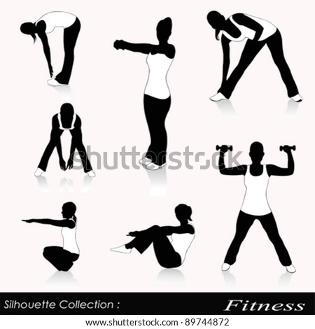 Vector illustration of fitness silhouettes isolated on white