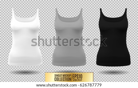 68d7095537b5d Vector illustration of fitness tank top for women. Realistic illustration  sport wear. Realistic vector · Blank ...