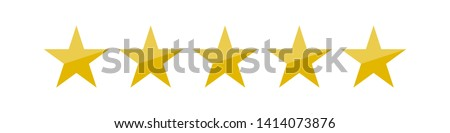 Vector illustration of five golden yellow stars in a row - best, top quality concept graphic representation