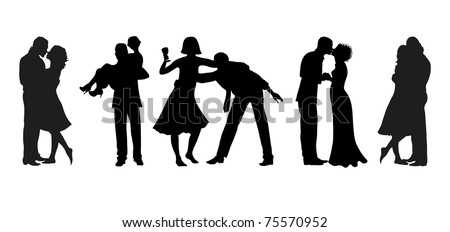 Vector illustration of five silhouettes of couples in love - stock vector