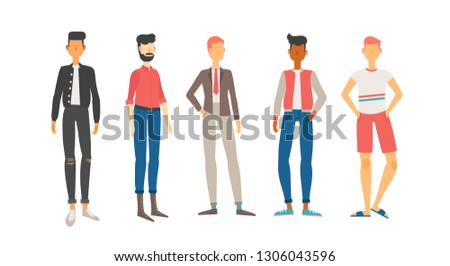 Vector illustration of five young men in casual and official clothes.