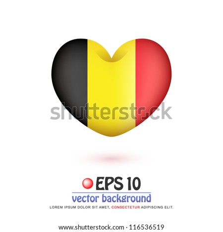 vector illustration of flag of Belgium in valentine heart shape