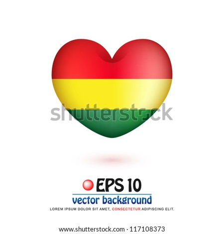 vector illustration of flag of Bolivia in valentine heart shape