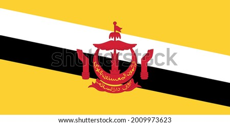 Vector Illustration Of Flag Of Brunei, A Sovereign State Located On The North Coast Of The Island Of Borneo In Southeast Asia. Color Image Of Flag With Coat Of Arms ストックフォト ©