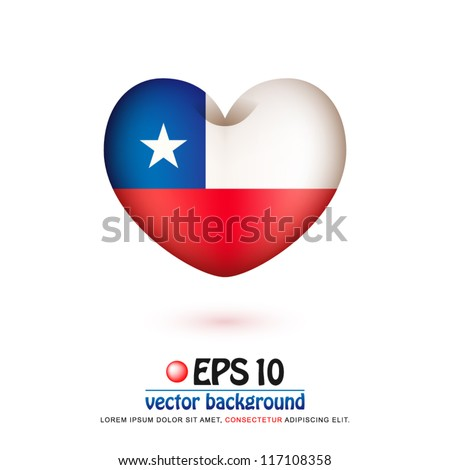 vector illustration of flag of Chile in valentine heart shape