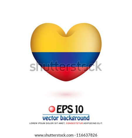 vector illustration of flag of Colombia in valentine heart shape