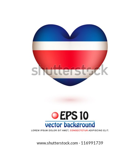 vector illustration of flag of Costa Rica in valentine heart shape