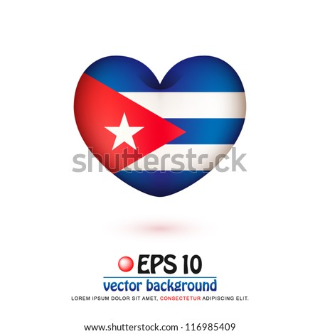 vector illustration of flag of Cuba in valentine heart shape