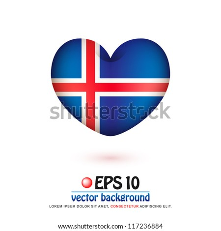 vector illustration of flag of Iceland in valentine heart shape