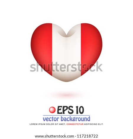 vector illustration of flag of Peru in valentine heart shape