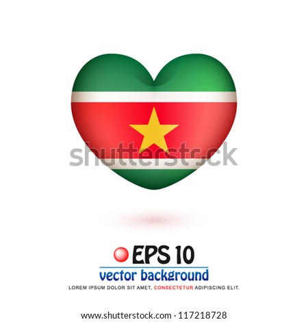vector illustration of flag of Suriname in valentine heart shape