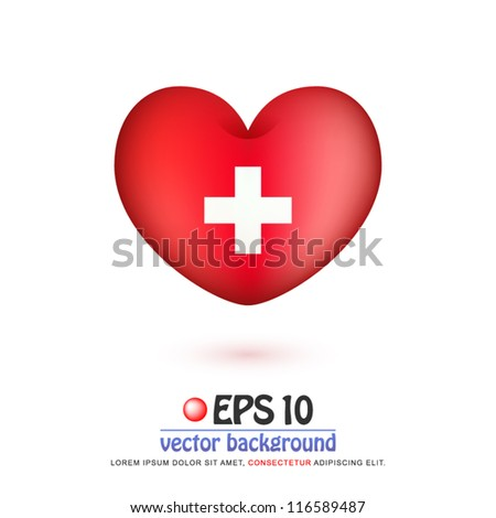 vector illustration of flag of Switzerland in valentine heart shape