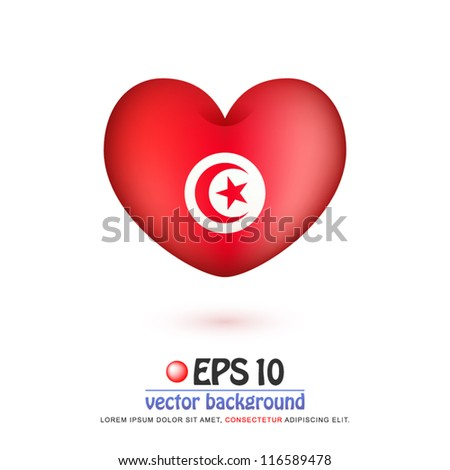 vector illustration of flag of Tunisia in valentine heart shape