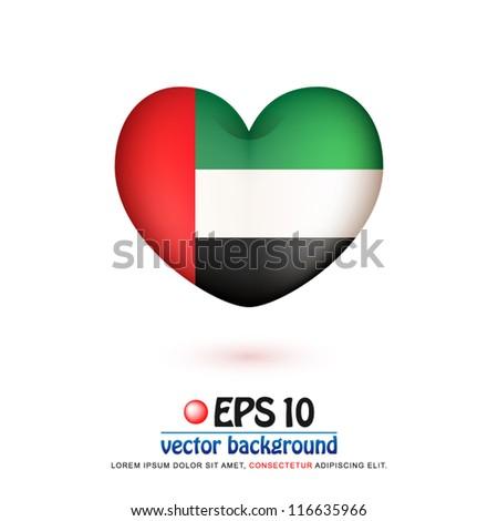 vector illustration of flag of United Arab Emirates in valentine heart shape