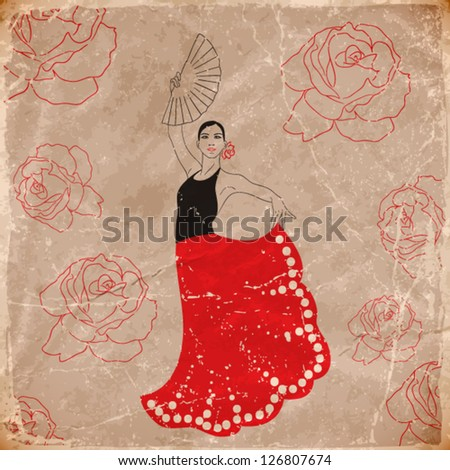 vector illustration of flamenco dancer. vintage style. eps10 - stock vector