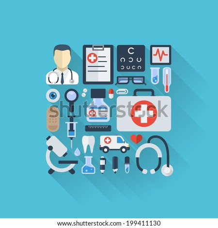 Vector illustration of flat colored icons with long shadows. Abstract medicine background with medical, health, healthcare, doctor, pills, cross symbols. Design elements for mobile, web applications.