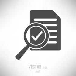 Vector illustration of flat design audit icon. dark grey