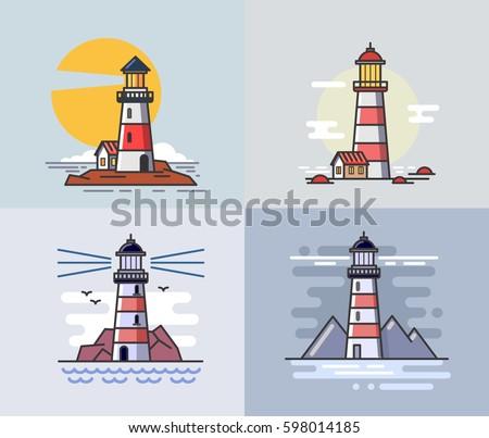 Vector illustration of flat design lighthouse set