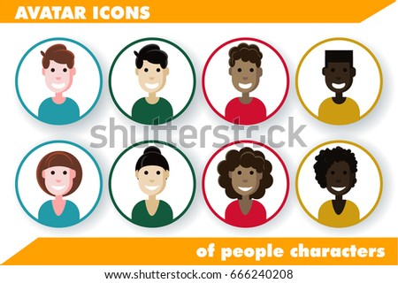 Vector illustration of flat design people characters. Men and women avatar icons. Different styles of  hairstyles, different nationalities Different nationalities and skin color of happy people.