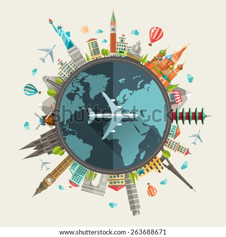Vector illustration of flat design travel composition with famous world landmarks icons