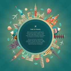 Vector illustration of flat design travel composition with famous world landmarks icons around the planet