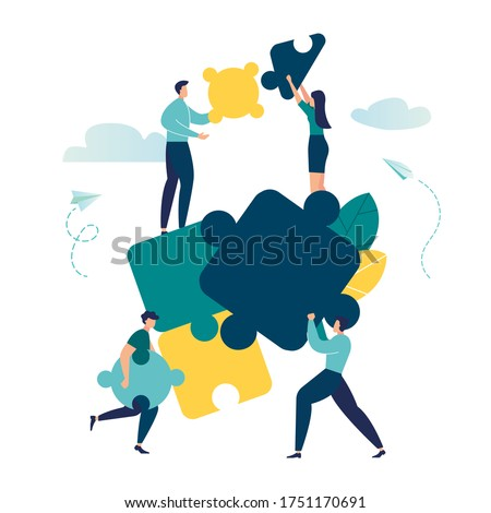 vector illustration of flat people. A team of people assemble an abstract geometric puzzle. characters collect puzzles of different shapes vector