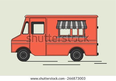 Vector illustration of flat retro truck