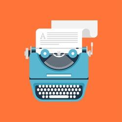 Vector illustration of flat vintage typewriter isolated on orange background.