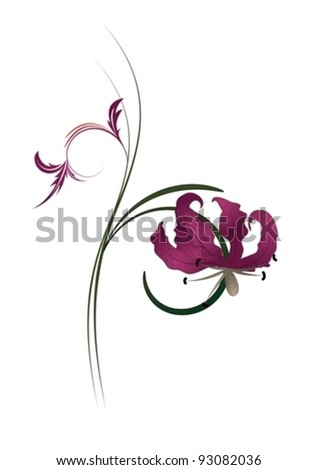 Vector illustration of floral background in white