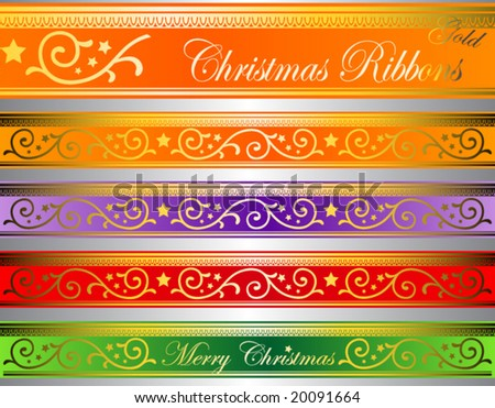 vector illustration of floral christmas ribbons on luminous glass (easy to edit colors)