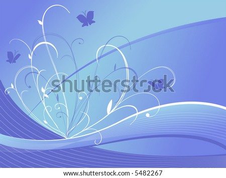 vector illustration of floral design with butterflies