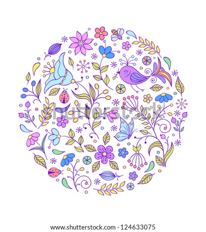 Vector illustration of floral hand drawn colorful pattern on white background. It can be used for production of children's plates