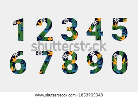 Vector illustration of floral numbers collection. Unique collection for wedding invites decoration & other concept ideas. Stock photo ©
