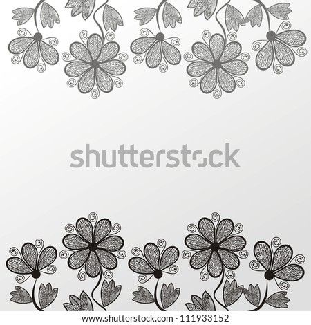 Vector illustration of floral pattern background black and white