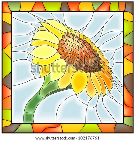 Vector illustration of flower sunflower in stained glass window with frame.