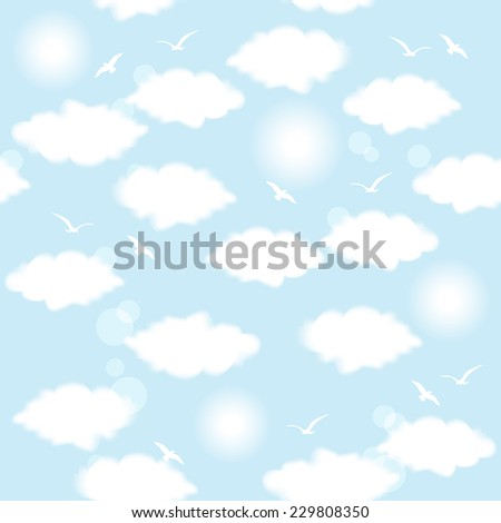 Vector illustration of flying birds in a blue sky with cumulus clouds and sun. Seamless pattern