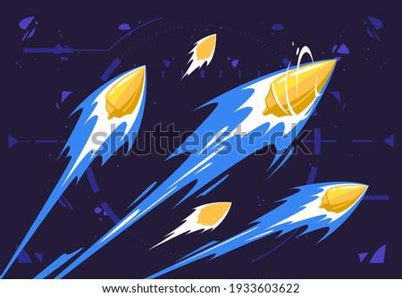 Vector illustration of flying bullets, firearm shot Сток-фото ©
