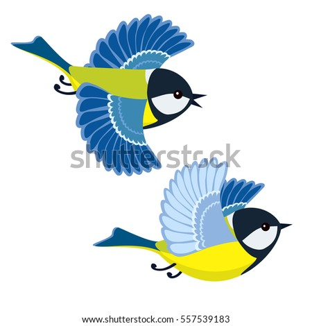 Vector illustration of flying great tit isolated on white background